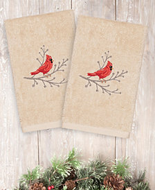 Linum Home Christmas Cardinal 100% Turkish Cotton 2-Pc. Hand Towel Set