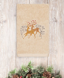 CLOSEOUT!  Linum Home Christmas Deer 100% Turkish Cotton Hand Towel
