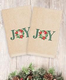 CLOSEOUT!  Christmas Joy 100% Turkish Cotton 2-Pc. Hand Towel Set