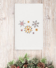 CLOSEOUT! Linum Home Christmas Snowfall 100% Turkish Cotton Hand Towels