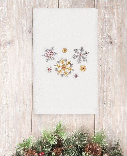 Linum Home CLOSEOUT! Christmas Snowfall 100% Turkish Cotton Hand Towels