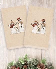 CLOSEOUT! Linum Home Christmas Snow Family 100% Turkish Cotton 2-Pc. Hand Towel Set