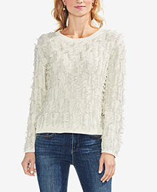 Vince Camuto Cotton Crew-Neck Fringe Sweater