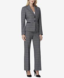 Tahari ASL Plaid Peak-Lapel Pantsuit