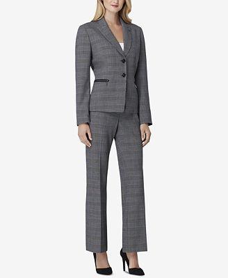 Tahari Asl Plaid Peak Lapel Pantsuit Wear To Work Women Macy S