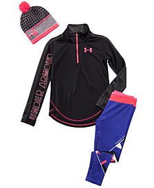 Under Armour Big Girls Favorite Beanie Hat, Tech 1/2-Zip Top & Infinity Cropped Leggings