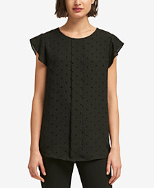 DKNY Star-Print Flutter-Sleeve Top, Created for Macy's