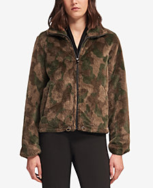 DKNY Faux-Fur Camo-Print Jacket, Created for Macy's