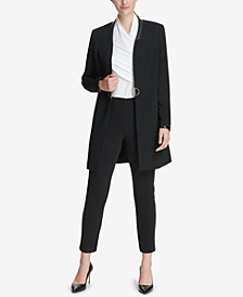 DKNY Faux-Leather-Trim Topper Jacket & Skinny Pants, Created for Macy's