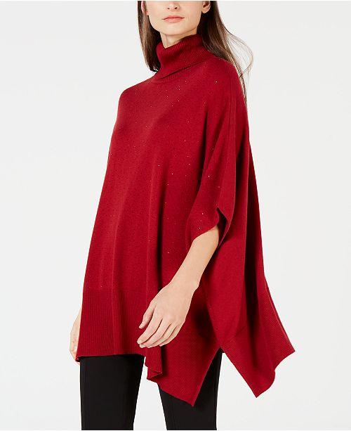 098f73a812 Anne Klein Turtleneck Poncho Sweater   Reviews - Sweaters - Women ...