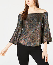 Bar III Foil Shimmer Off-The-Shoulder Top, Created for Macy's