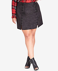 City Chic Trendy Plus Size Faux-Suede Mini Skirt