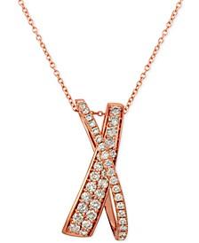 "Nude Diamonds™ Crisscross 20"" Pendant Necklace (5/8 ct. t.w.) in 14k Rose Gold"