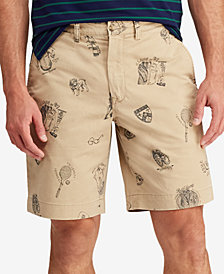 "Polo Ralph Lauren Men's Collegiate Print Stretch 9.5"" Chino Shorts"
