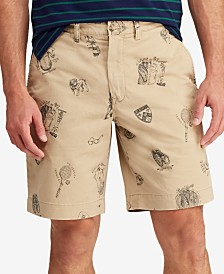 "Polo Ralph Lauren Men's Collegiate Print Stretch 9.5"" Chino Shorts"