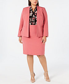 Nine West Plus Size Kiss-Front Jacket, Tie-Neck Blouse & Stretch Skirt