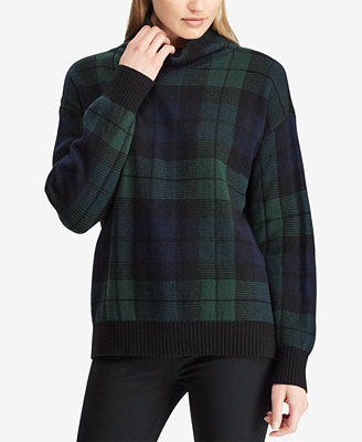 Tartan Funnel Neck Sweater by Lauren Ralph Lauren