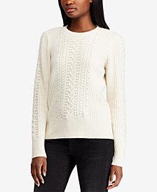 Lauren Ralph Lauren Beaded Cable-Knit Sweater