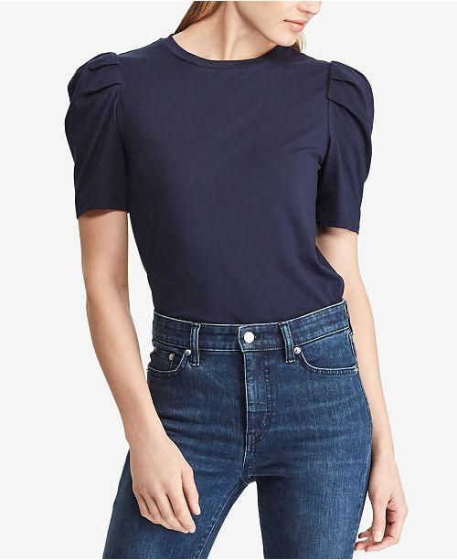 5d0506e9d6a72 Lauren Ralph Lauren Puff-Sleeve Cotton T-Shirt   Reviews - Tops ...