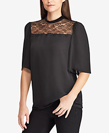 Lauren Ralph Lauren Lace-Yoke Georgette Top