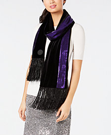 DKNY Velvet Sequined Stripe Fringe Scarf, Created for Macy's