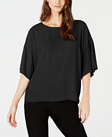 Eileen Fisher Silk Ballet-Neck Top