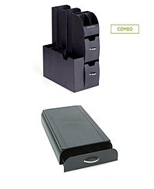 Pod Storage Drawer, 50 Capacity Nespresso Capsule, Black 2 Pc Set