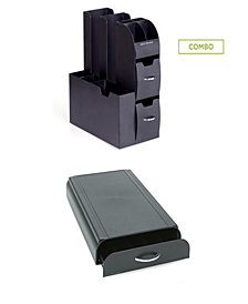 Mind Reader Pod Storage Drawer, 50 Capacity Nespresso Capsule, Black 2 Pc Set