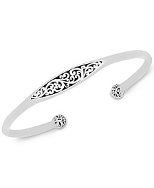Scroll Center and Ball Edged Cuff Bangle Bracelet in Sterling Silver