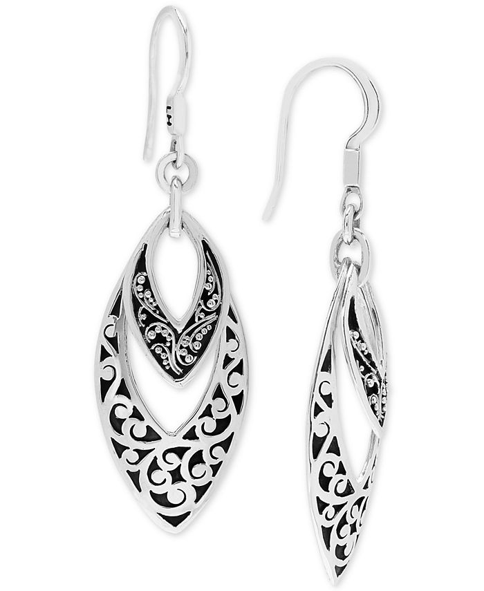 Lois Hill - Scroll Work & Filigree Marquise Drop Earrings in Sterling Silver