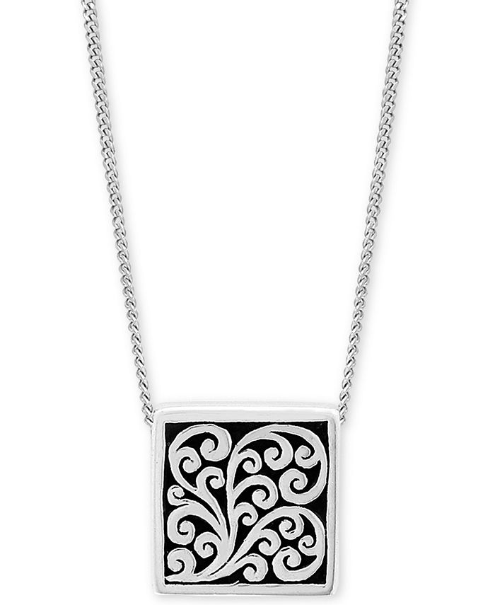 """Lois Hill - Decorative Scroll Square 20"""" Pendant Necklace in Sterling Silver"""