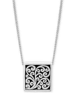 "Decorative Scroll Square 20"" Pendant Necklace in Sterling Silver"