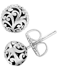 Lois Hill Decorative Scroll Ball Stud Earrings in Sterling Silver