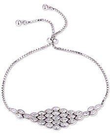 Cubic Zirconia Marquise Cluster Bolo Bracelet in Sterling Silver