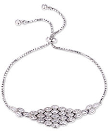 Tiara Cubic Zirconia Marquise Cluster Bolo Bracelet in Sterling Silver