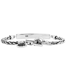Lois Hill Braided Scroll Plate Chain Bracelet in Sterling Silver