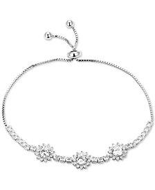 Tiara Cubic Zirconia Triple Cluster Bolo Bracelet in Sterling Silver
