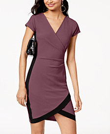 Crave Fame Juniors' Framed Wrap Dress