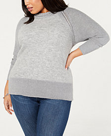 Belldini Black Label Plus Size Contrast Mock-Turtleneck Sweater