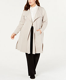 Belldini Plus Size Ponté Trench Jacket