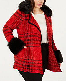 Belldini Black Label Plaid Chenille Cardigan