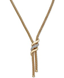 "Diamond Swirl Lariat Necklace (1/3 ct. t.w.) in 14k Gold Over Sterling Silver, 20"" + 3"" extender"