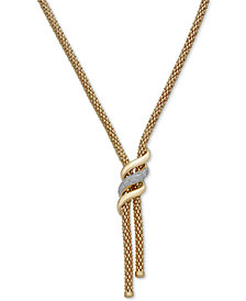 """Diamond Swirl Lariat Necklace (1/3 ct. t.w.) in 14k Gold Over Sterling Silver, 20"""" + 3"""" extender"""
