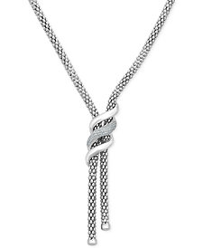 """Diamond Swirl Lariat Necklace (1/3 ct. t.w.) in Sterling Silver, 20"""" + 3"""" extender"""