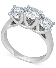Diamond Trinity Engagement Ring (2 ct. t.w.) in 14k White Gold