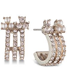 Marchesa Gold-Tone Cubic Zirconia & Imitation Pearl Triple-Row Huggie Hoop Earrings