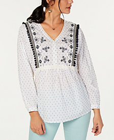 Style & Co Petite Embellished Top, Created for Macy's