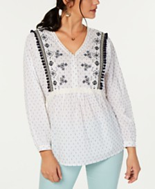 Style & Co Embroidered Clip-Dot Babydoll Top, Created for Macy's