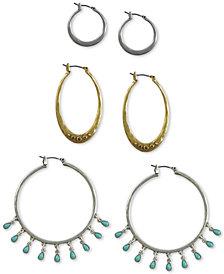 Lucky Brand Two-Tone 3-Pc. Set Pavé & Bead Hoop Earrings