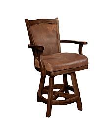 """Santa Fe 24""""H Dark Chocolate Swivel Barstool, Cushion Seat & Back"""